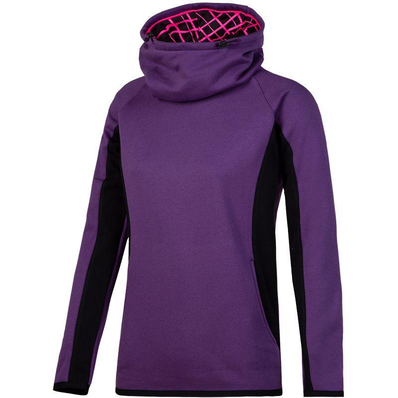 Women's Montana Fleece Brushed Snood Hoodie Purple / Black / Pink