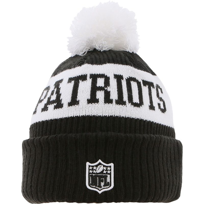 New Era New England Patriots On Field Sideline Bobble Knit Black / White