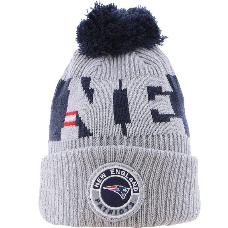 New Era New England Patriots On Field Sideline Bobble Knit Grey / Navy