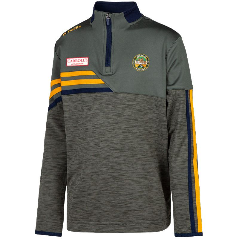 Offaly GAA Kids' Nevis Brushed Midlayer Half Zip Top Green / Yellow