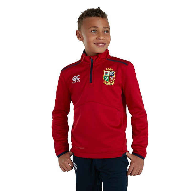 Canterbury British and Irish Lions Kids' Thermoreg Quarter Zip Fleece Top Tango Red