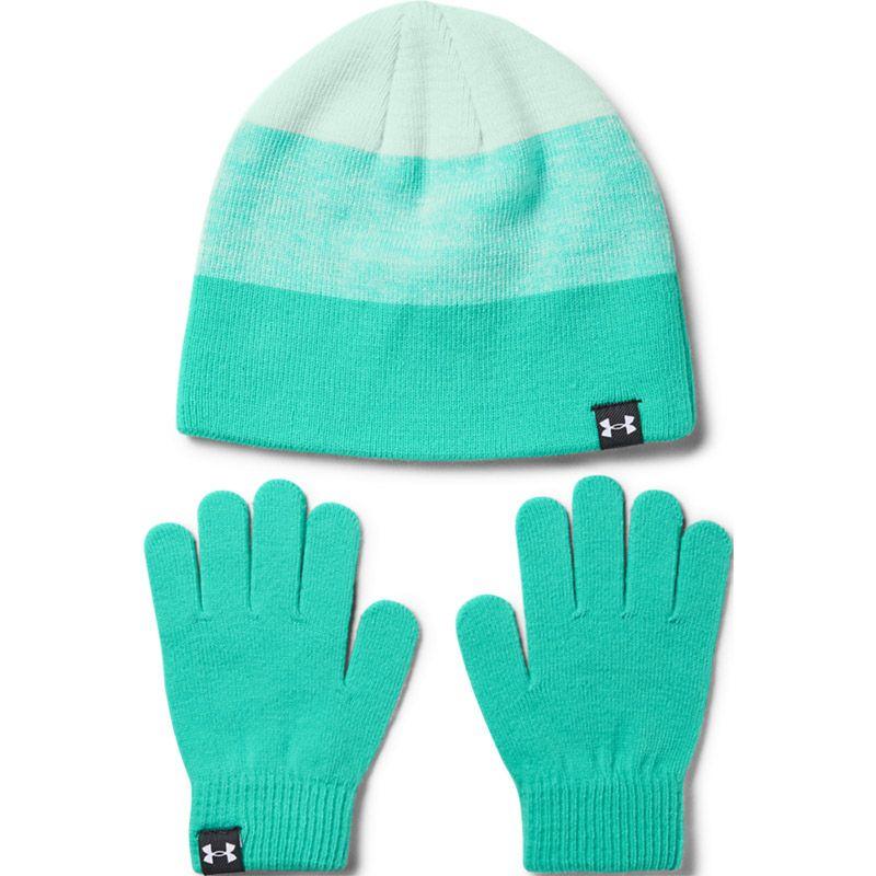 Kids' Under Armour Beanie Hat and Glove Set Green / Blue / White