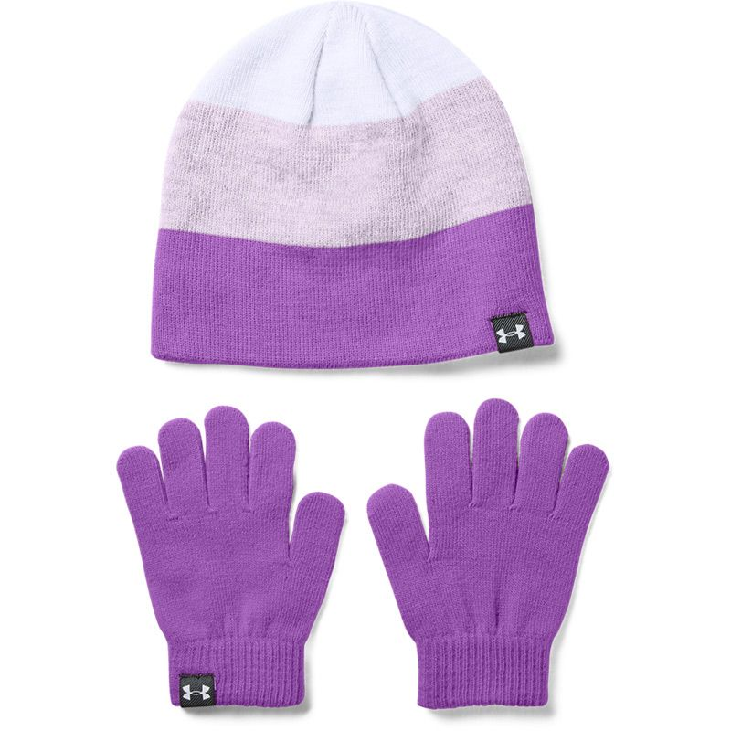 Kids' Under Armour Beanie Hat and Glove Set Exotic Bloom / Lilac