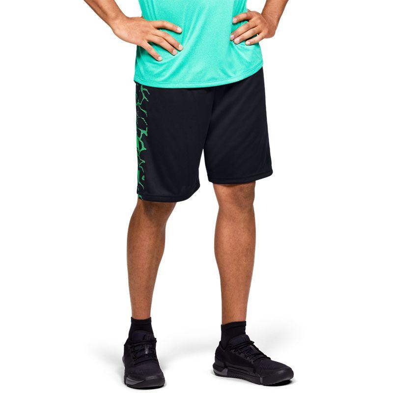 Men's Under Armour Tech Bar Logo Shorts  Black / Vapor Green
