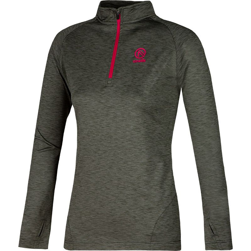 Women's Savannah Brushed Half Zip Top Khaki / Black / Pink