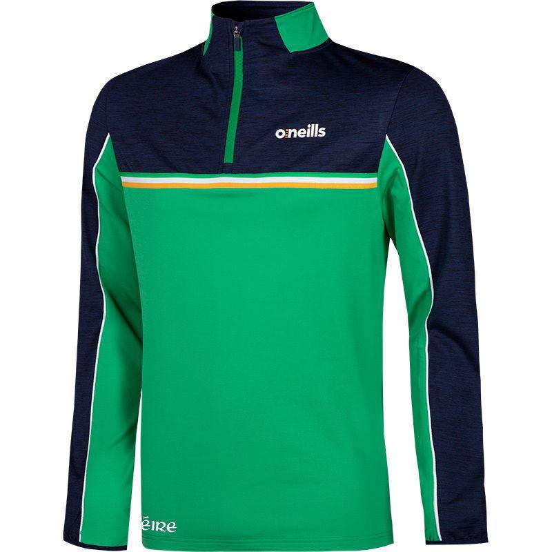 Men's Shay Ireland Brushed Half Zip Top Marine / Green / White