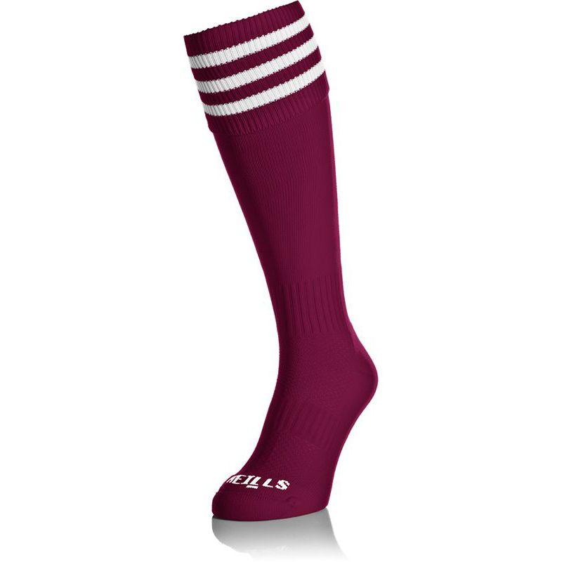 Premium Socks Bars Maroon / White