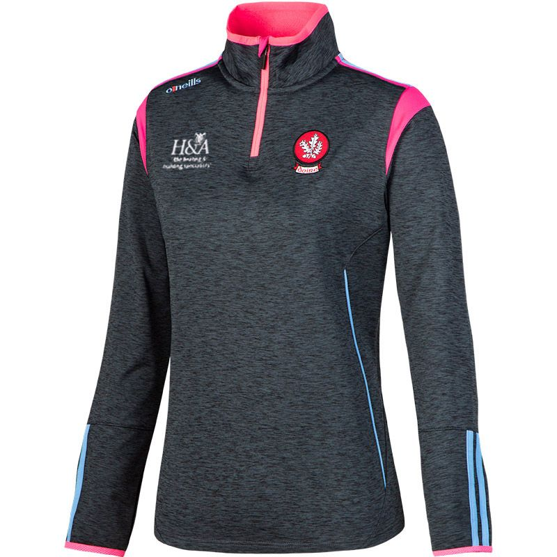 Derry GAA Solar 2S Brushed Half-Zip Training Top (Mel Black/Flo Pink/Sky Blue) (Kids)