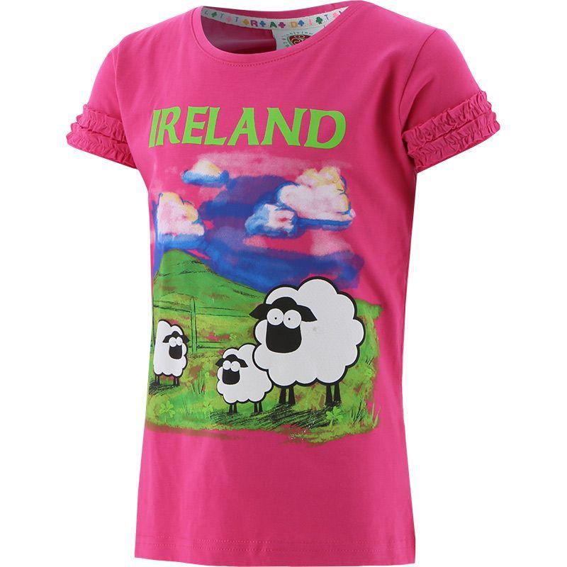 Kids' Trad Craft Sheep Frill T-Shirt Pink