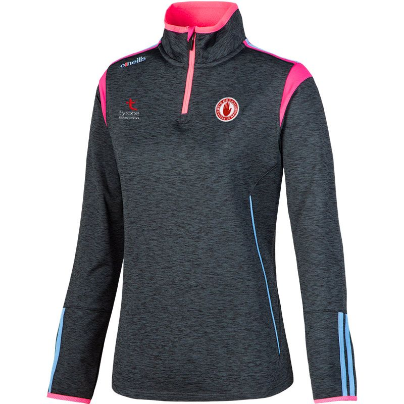 Tyrone GAA Solar 2S Brushed Half-Zip Training Top (Mel Black/Flo Pink/Sky Blue) (Kids)