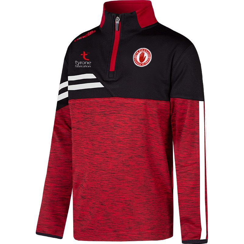 Tyrone GAA Kids' Nevis Brushed Midlayer Half Zip Top Red / Black / White