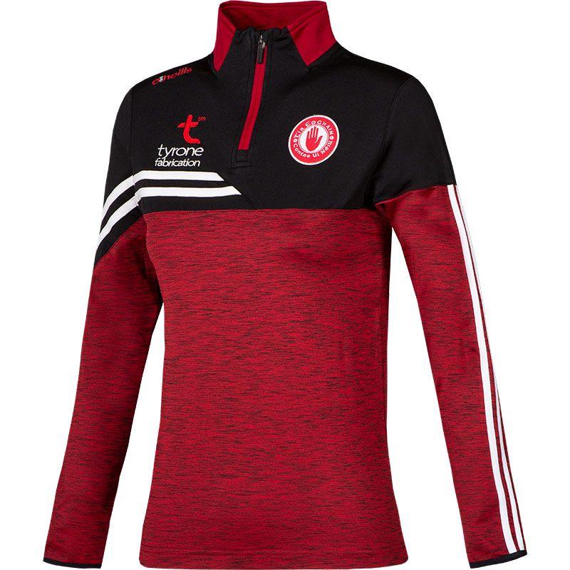 Tyrone GAA Women's Nevis  Brushed Midlayer Half Zip Top Red / Black / White
