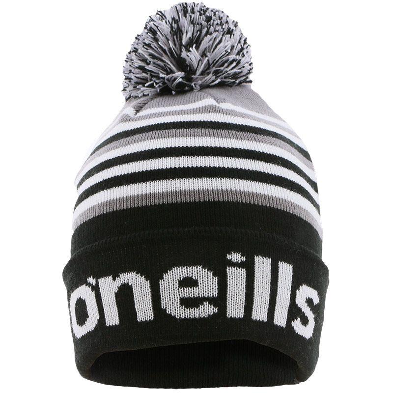 Utah Knitted Bobble Hat Black / Grey / White