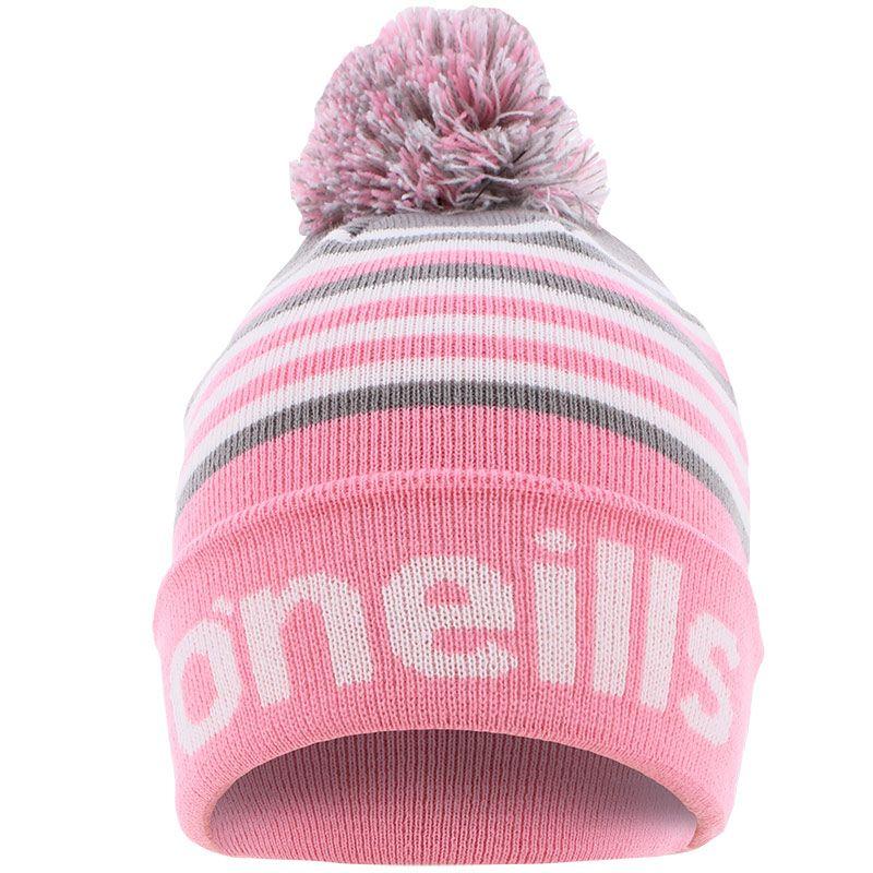 Utah Knitted Bobble Hat Pink / Grey / White