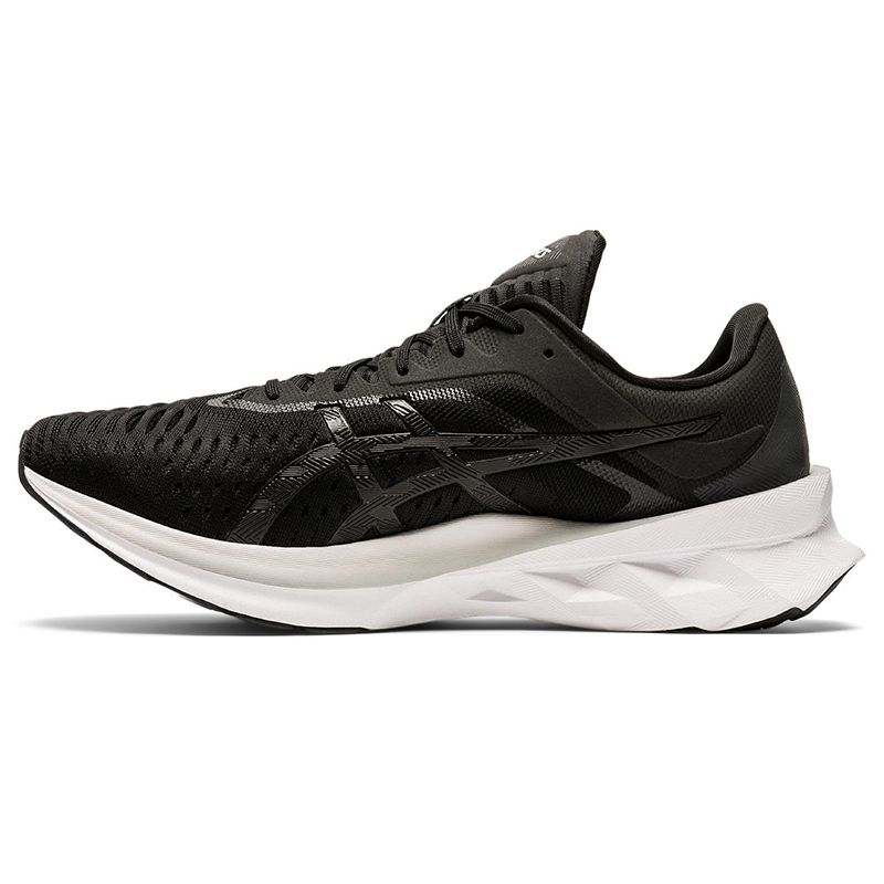 black and white ASICS men's running shoes with lightweight cushioning from O'Neills