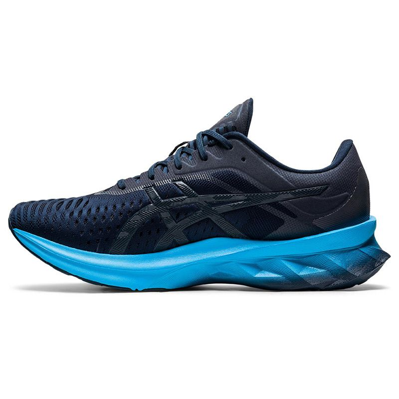 blue and aqua ASICS men's running shoes with lightweight cushioning from O'Neills