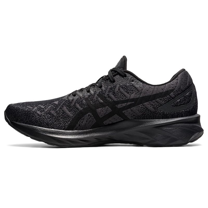 black and grey ASICS men's running shoes with lightweight cushioning and a responsive rebound from O'Neills