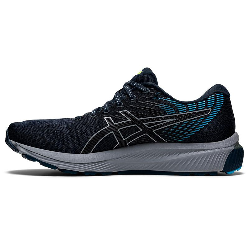 blue and black ASICS men's running shoes with a hard wearing rubber outsole from O'Neills