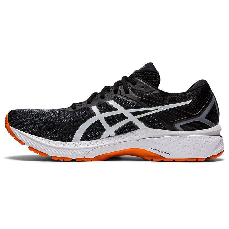 black, white and orange ASICS men's running shoes with lightweight cushioning from O'Neills