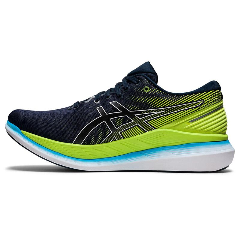 blue and green ASICS men's running shoes with energy saving properties from O'Neills
