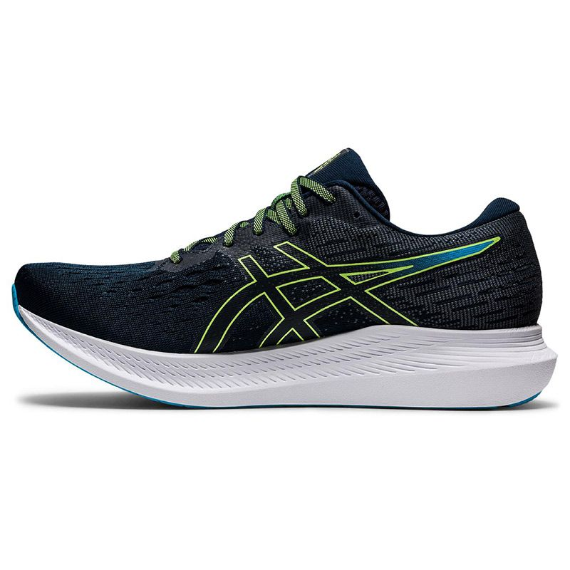 blue and green ASICS men's running shoes with GUIDESOLE technology helping to conserve energy, from O'Neills