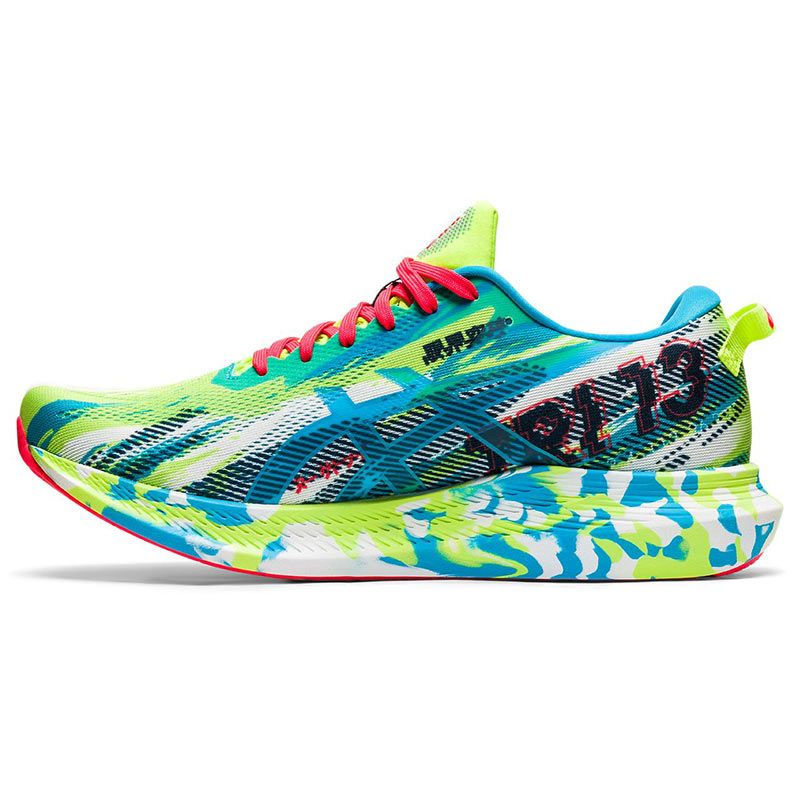 green and blue multicoloured ASICS men's running shoes with a lightweight feel and more cushioning from O'Neills