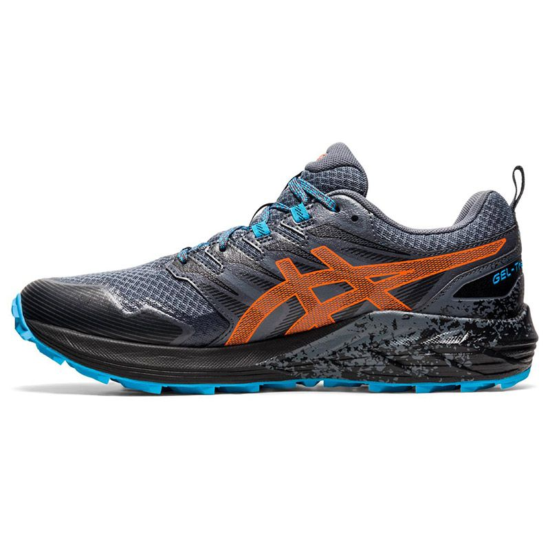 black, blue and orange ASICS men's running shoes with a lightweight design from O'Neills
