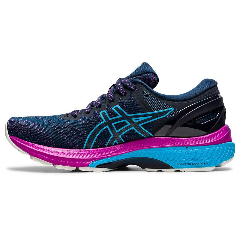 blue and pink ASICS women's running shoes with increased stability from oneills.com