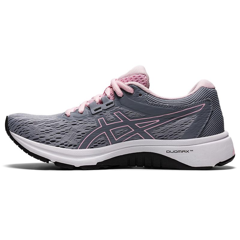 grey and pink ASICS women's running shoes, supportive and comfortable from O'Neills