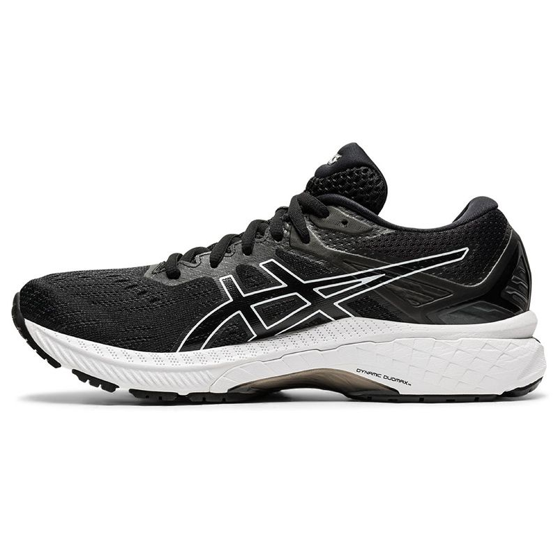 black and white ASICS women's lightweight and cushioned running shoe from O'Neills