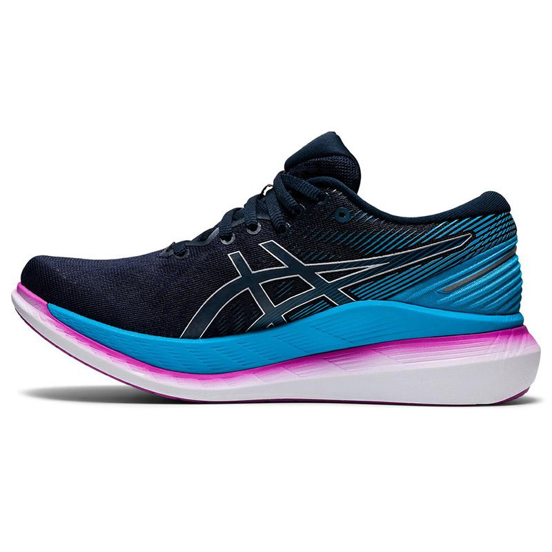 blue and purple ASICS women's running shoes with an improved upper fit from O'Neills