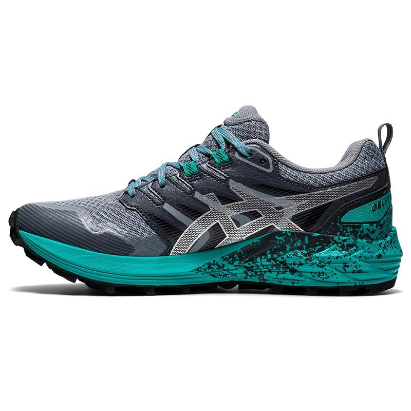 grey and green ASICS women's running shoes with excellent durability from O'Neills