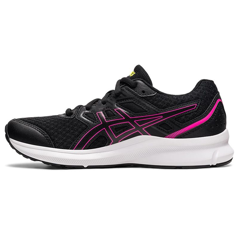 black and pink ASICS women's running shoes with a rubber outsole from oneills.com