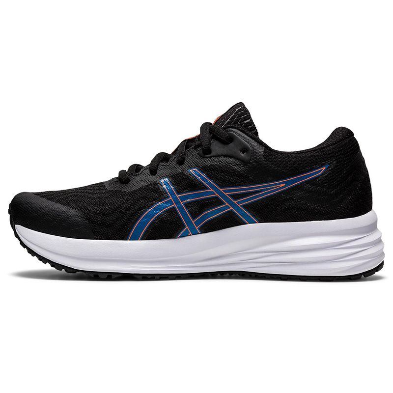black and blue ASICS Kids' trainers with a bouncy and cushioned feeling underfoot from O'Neills