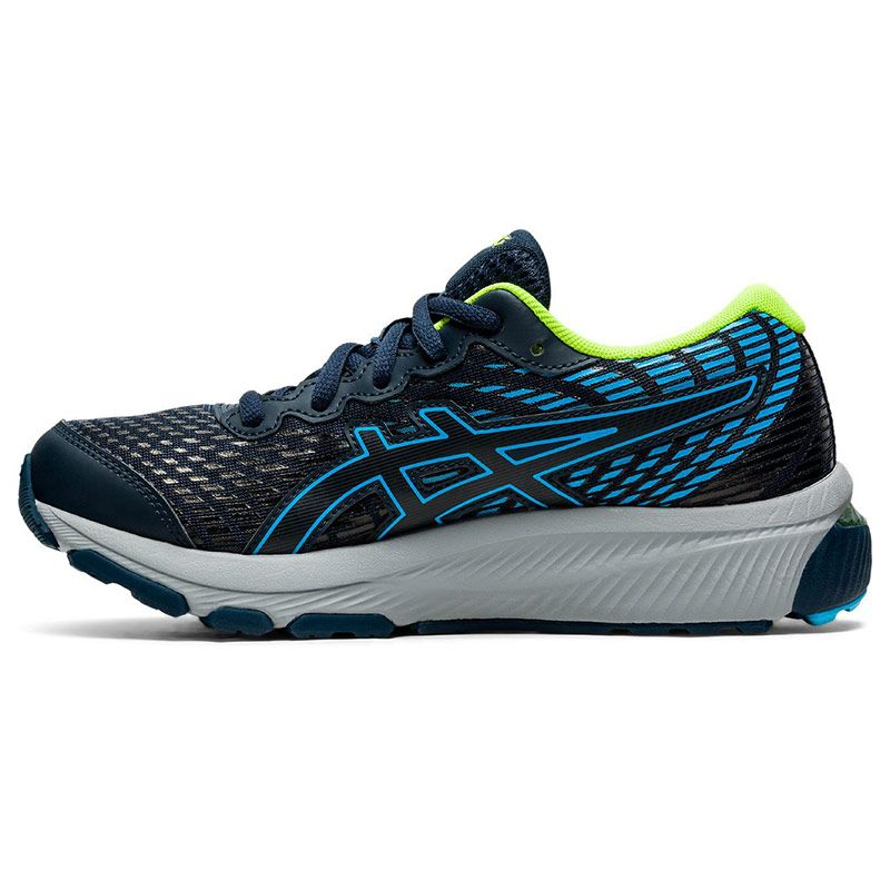 blue and green ASICS kids' running shoes with excellent cushioning from oneills.com