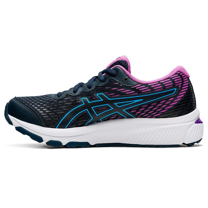 navy, blue and purple ASICS Kids' trainers with excellent cushioning from O'Neills