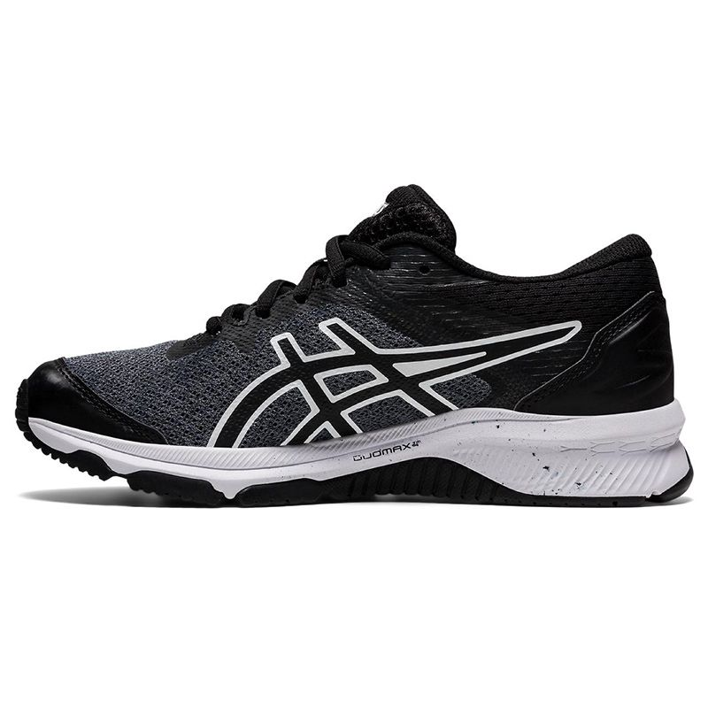 black and white ASICS kids' running shoes with improved durability from oneills.com