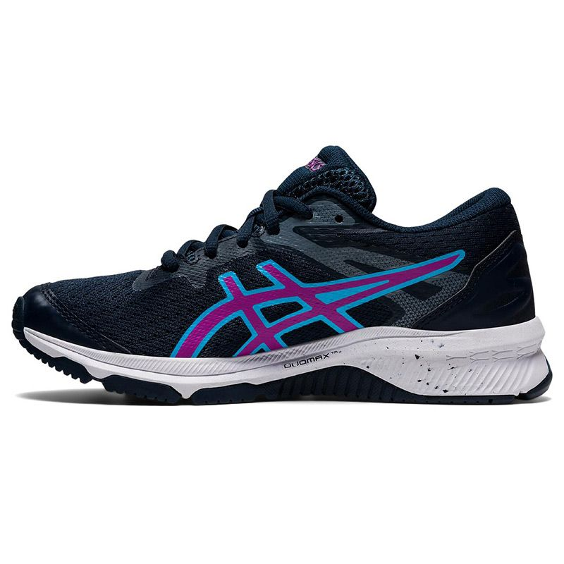 blue and purple ASICS kids' running shoes with improved durability from oneills.com
