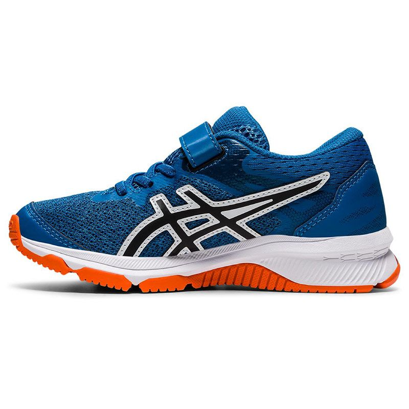 blue and orange ASICS kids' running shoes built with a durable design from oneills.com
