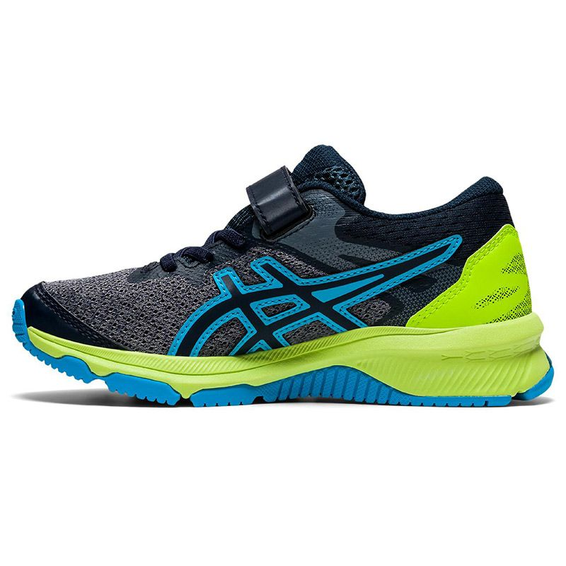 grey, black, blue and green ASICS Kids' trainers built with a durable design from O'Neills