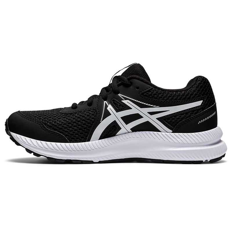 black and white ASICS Kids' runners with a new mesh upper and improved fit from O'Neills