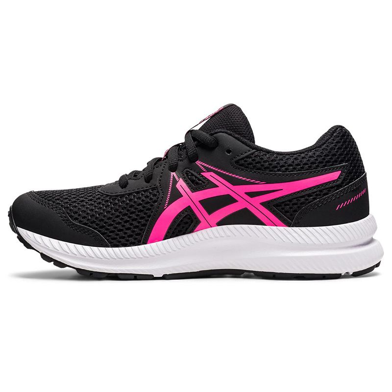 black and pink ASICS Kids' trainers with a new mesh upper and improved fit from O'Neills