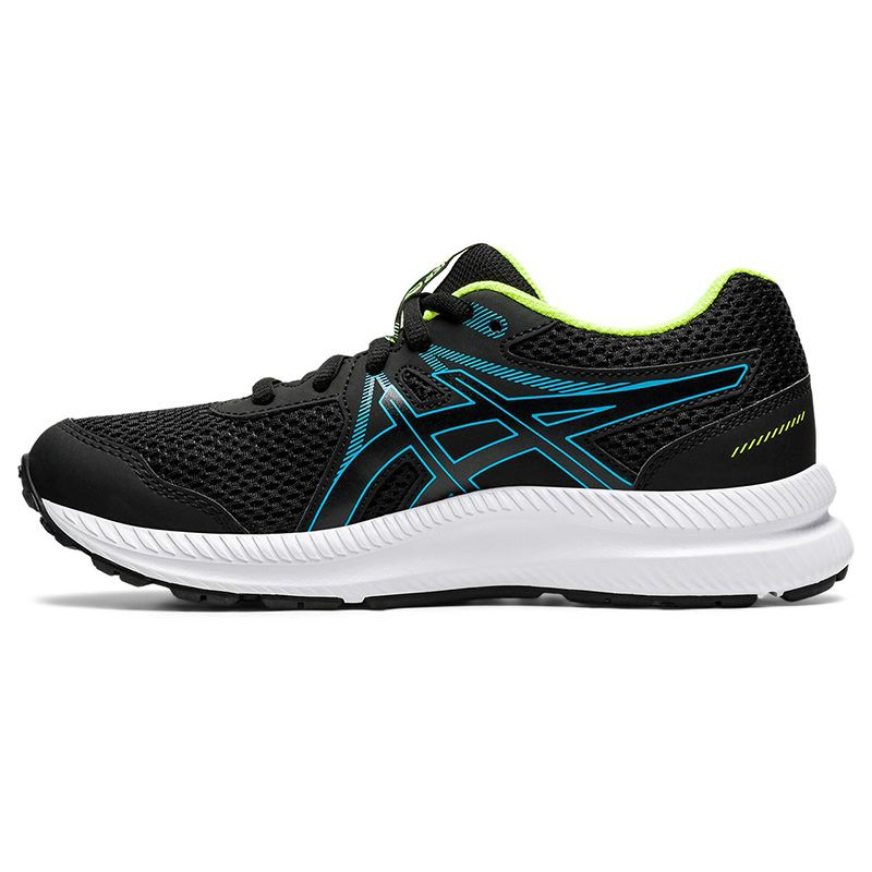 black, blue and yellow ASICS kids' running shoes with an improved fit from oneills.com