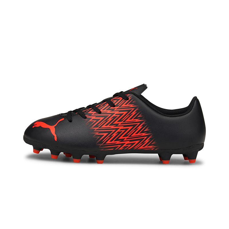 black and red Puma Kids' firm ground football boot, lightweight and comfortable from O'Neills
