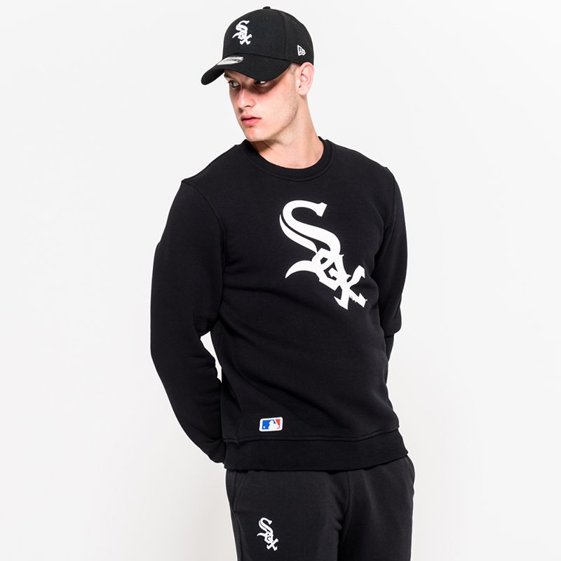 New Era Men's  Chicago White Sox Crew Neck Sweatshirt Black / White