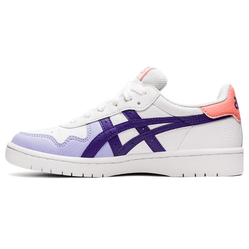 white, purple and peach ASICS kids' trainers updated with a lightweight design from O'Neills