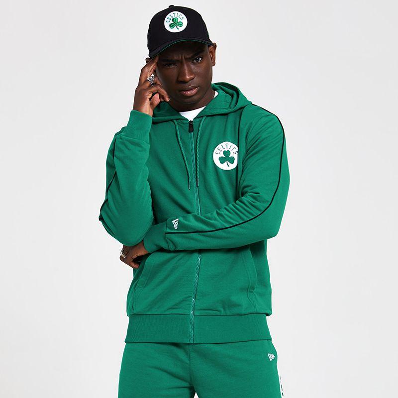 New Era Men's  Boston Celtics NBA Pipe Stripe Zip Up Hoodie Green