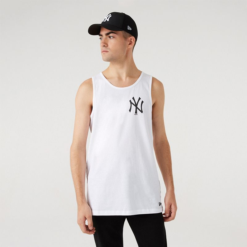White New Era New York Yankees men's vest with taping detail from O'Neills.