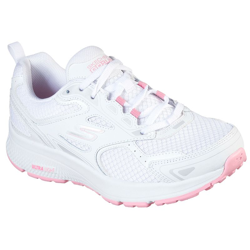 white and pink Skechers women's well-cushioned lace up runner from O'Neills