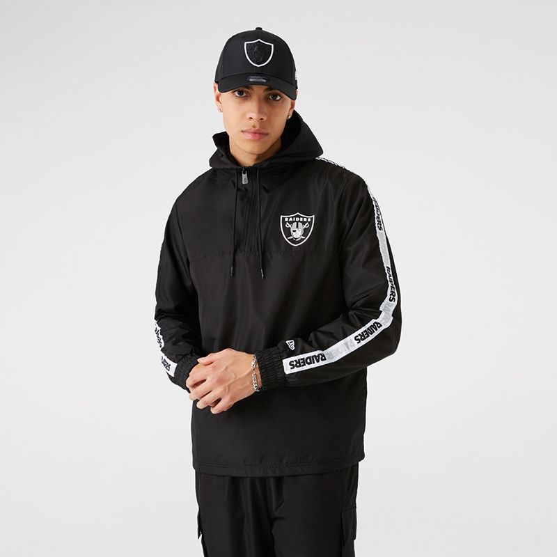Black New Era Las Vegas Raiders men's windcheater with team logo and wordmark taping on both sleeves from O'Neills.